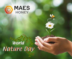 Banner día mundial de la naturaleza. maeshoney.com